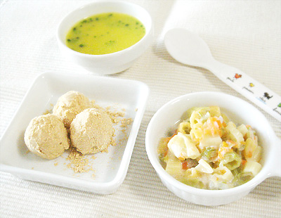 【離乳食中期】きなこボール/野菜とマカロニのチーズ煮/ブロッコリーのカボチャポタージュ