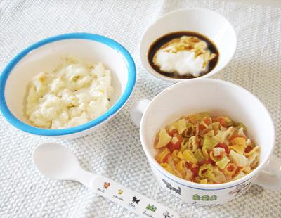 【離乳食中期】鮭のクリームパンがゆ/マカロニのトマト煮/プルーンヨーグルト