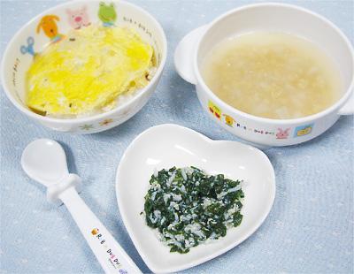 【離乳食後期】親子丼/チンゲン菜の炒め煮/里芋と納豆の味噌汁