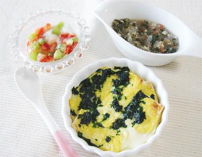 【離乳食後期】ほうれん草のパンキッシュ/野菜のトロトロチーズスープ/フルーツのヨーグルト和え