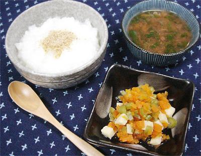 【離乳食後期】白ゴマがゆ/高野豆腐と野菜の煮物/チンゲン菜のトマトスープ