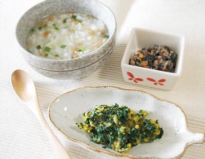 【離乳食後期】納豆おじや/青菜のレバー和え/ひじきのマヨネーズ和え
