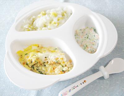 【離乳食後期】サツマイモご飯/しらすの卵とじ/ブロッコリーサラダ