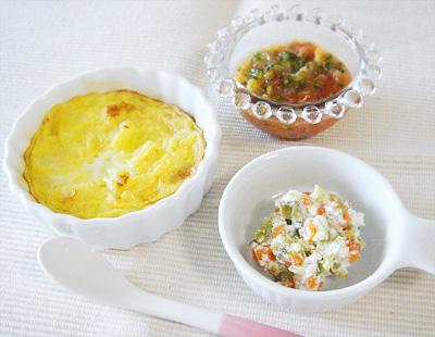 【離乳食後期】ミックスフルーツパンプディング/キャベツのチーズサラダ/トマトスープ