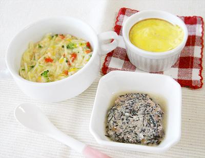 【離乳食後期】鮭と野菜のコーンクリームパスタ/野菜とフルーツのココット/ひじきとトマトのヨーグルトサラダ