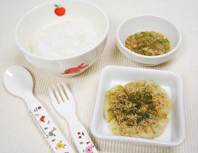 【離乳食後期】鶏肉のスープがゆ/オクラ納豆/キャベツのお好み焼き風