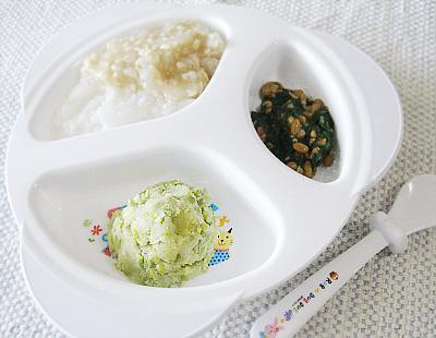 【離乳食後期】鶏そぼろのあんかけ丼/マメマメサラダ/チンゲン菜の納豆和え