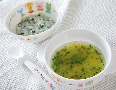 【離乳食後期】ほうれん草としらすのおかゆ/サツマイモのスープ