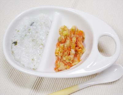 【離乳食後期】のりの和風がゆ/和風トマト煮