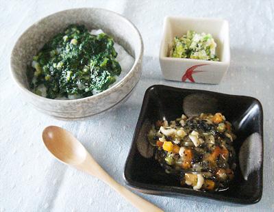 【離乳食後期】青菜のネバネバ丼/ひじきと野菜の煮物/キャベツのブロッコリーのチーズ和え