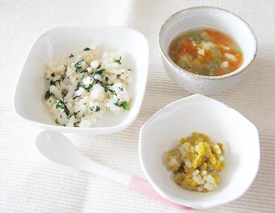 【離乳食後期】焼きうどん/レバーモヤシ/さつま汁