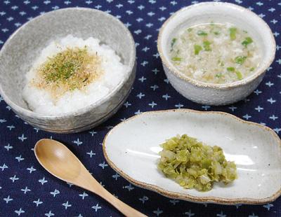 【離乳食後期】ふりかけご飯/キャベツのゴマ和え/もやしの中華スープ
