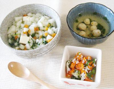【離乳食後期】煮込みうどん/しらすとニンジンのオクラ和え/鶏団子スープ