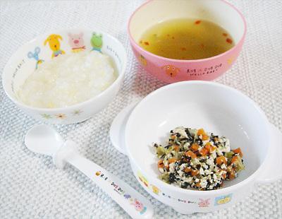 【離乳食後期】タケノコご飯/ひじきと野菜の豆腐和え/五目スープ
