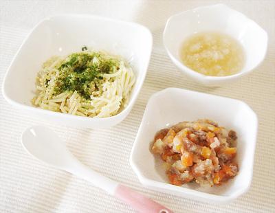 【離乳食後期】納豆パスタ/牛肉と野菜のトマト煮こみ/カブのピーチ煮