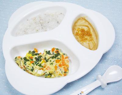 【離乳食後期】大根とシイタケのおかゆ/ひき肉と野菜の卵とじ/プルーンきな粉ヨーグルト