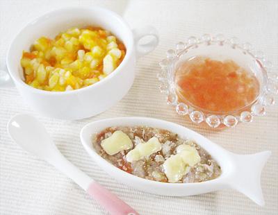 【離乳食後期】カボチャとニンジンのトロトロうどん/マグロのオーブン焼き/トマトのゼリー寄せ