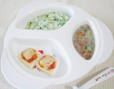 【離乳食後期】ブロッコリーのスープがゆ/キノコシチュー/豆腐ピザ