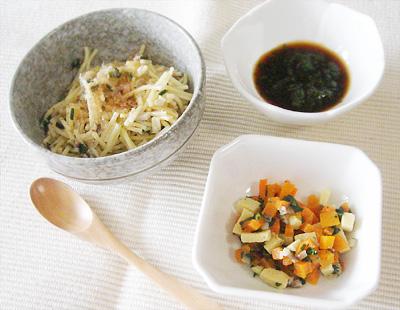 【離乳食後期】キノコの和風パスタ/野菜と高野豆腐のうま煮/プルーンレタス