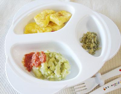 【離乳食後期】フレンチトースト/ナスのバターソテー/そら豆ポテトのトマトソース添え
