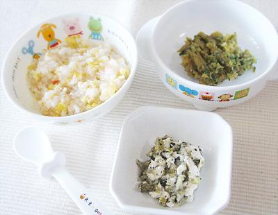 【離乳食後期】ひき肉チャーハン/キャベツのゴマ豆腐和え/サツマイモのプルーン煮