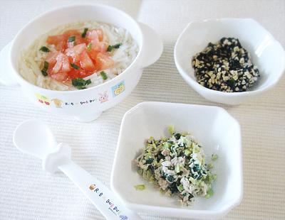 【離乳食後期】トマトのせソーメン/枝豆とマグロのサラダ/ひじき納豆