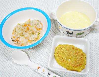 【離乳食後期】ライスサラダ/レバー豆腐ハンバーグ/ポテトポタージュ