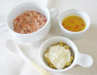 【離乳食後期】キノコのトマトリゾット/レバーグラタン/パプリカのカボチャポタージュ