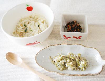 【離乳食後期】納豆そうめん/キャベツとしらすのゴマ和え/ひじきのマヨネーズ和え