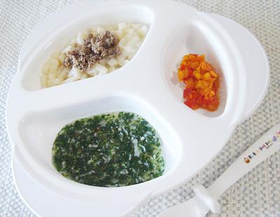【離乳食後期】牛肉うどん/水菜としらすのおひたし/パプリカのケチャップ煮