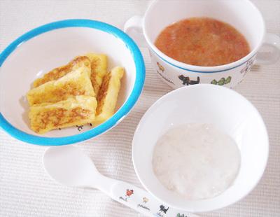 【離乳食後期】フルーツフレンチトースト/鶏ささ身とカブのクリーム煮/ナスとトマトのスープ