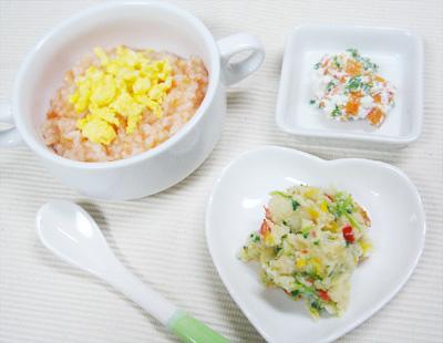 【離乳食後期】卵とトマトのリゾット/パプリカとブロッコリーのポテトサラダ/レタスとニンジンのチーズ和え