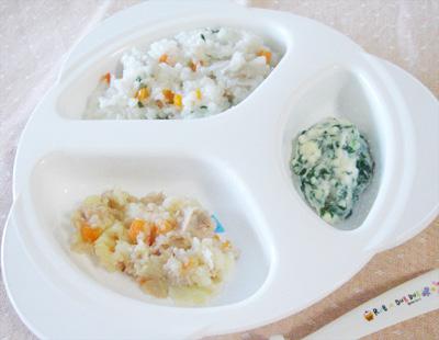 【離乳食後期】根菜チャーハン/ツナジャガ/チンゲン菜のクリーム煮