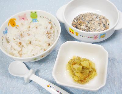 【離乳食後期】カブと牛肉のおかゆ/ナスの煮浸し/ひじきとトマトのヨーグルトサラダ