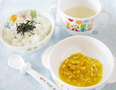 【離乳食後期】しらすご飯/鶏ひき肉とカボチャの煮物/大根のとろみスープ
