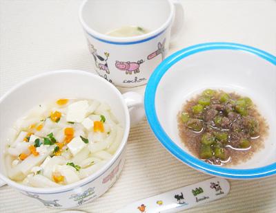 【離乳食後期】煮込みうどん/牛肉とインゲンのリンゴ煮/ワンタンスープ