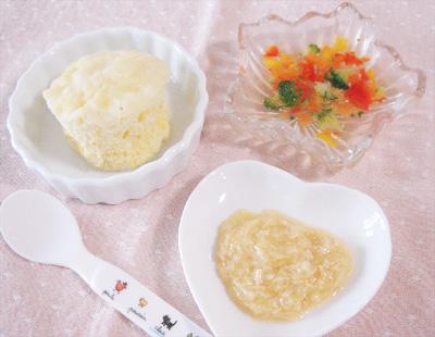 【離乳食後期】サツマイモの蒸しパンケーキ/鶏もも肉のオレンジ煮/野菜のスープゼリー