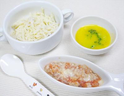 【離乳食後期】キノコのクリームパスタ/マグロのオーブン焼き/ブロッコリーのカボチャポタージュ