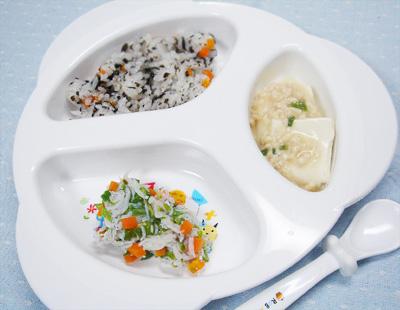 【離乳食後期】ひじきご飯/しらすとニンジンのオクラ和え/豆腐のそぼろあん
