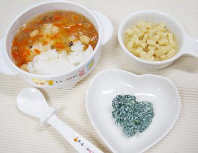 【離乳食後期】鯛と根菜の和風あんかけご飯/高野豆腐のあっさり煮/青菜のヨーグルト和え