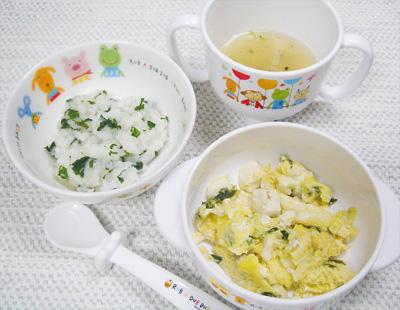 【離乳食後期】大根とチンゲン菜のおじや/ニラと豆腐の卵とじ/平目の和風スープ