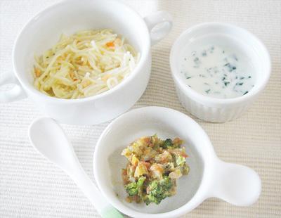 【離乳食後期】鮭のクリームパスタ/キャベツとブロッコリーのトマト煮込み/ほうれん草のミルクスープ
