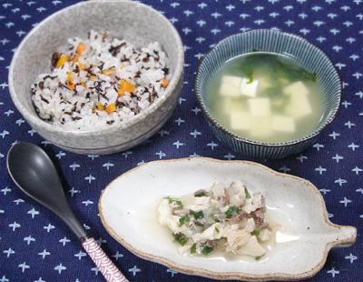 【離乳食後期】ひじきご飯/ブリ大根/豆腐とワカメの味噌汁