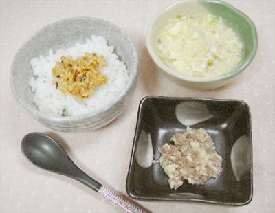 【離乳食後期】納豆ご飯/牛肉とタケノコの煮物/キャベツとツナの卵スープ