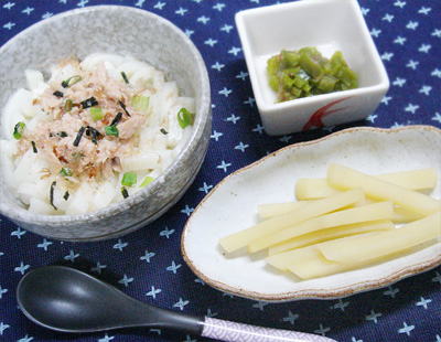 【離乳食後期】和風ツナうどん/ピーマンのおかか煮/ジャガイモのきんぴら