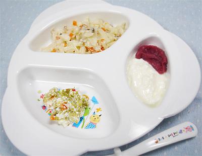 【離乳食後期】洋風キノコうどん/キャベツのチーズサラダ/紫イモ&リンゴヨーグルト