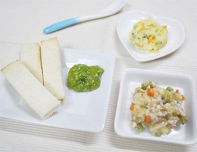 【離乳食後期】グリーントースト/鶏肉と野菜のバナナ和え/パプリカとブロッコリーのポテトサラダ