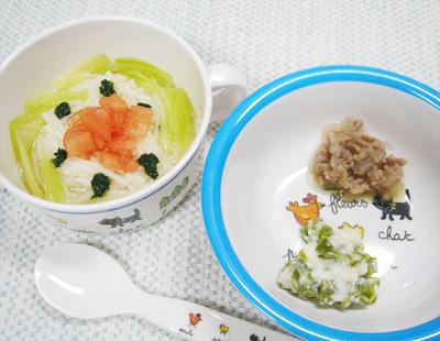 【離乳食後期】サラダそうめん/豚ひき肉と玉ねぎのフルーツ煮/ピーマンのクリーム煮