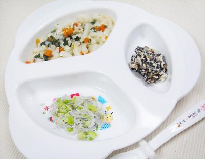 【離乳食後期】ブリと野菜の煮込みうどん/枝豆としらすの和え物/ひじきと豆腐のおかかチーズ