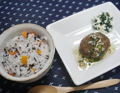 【離乳食後期】ひじきご飯/イワシハンバーグ/ほうれん草の白和え